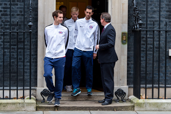 Davis Cup Winners Arrive For Downing Street Reception [standing,uniform,event,suit,street,white-collar worker,tourism,jeans,winners,andy murray,david cameron,kyle edmund,l-r,british,number 10 downing street,downing street reception,davis cup,defeat]