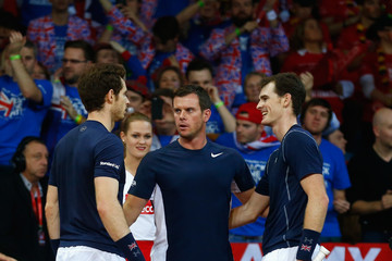Andy Murray Leon Smith Belgium v Great Britain: Davis Cup Final 2015 - Day Two