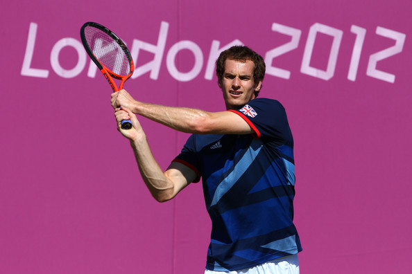 Andy Murray Andy Murray of Great Britain plays a backhand during a practice session ahead of the 2012 London Olympic Games at the All England Lawn Tennis and Croquet Club in Wimbledon on July 24, 2012 in London, England.
