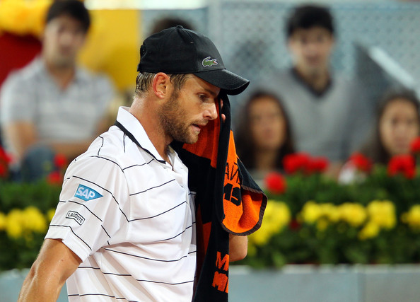 Andy Roddick Andy Roddick of USA wipes his face in his match against Flavio Cipolla of Italy during day three of the Mutua Madrilena Madrid Open Tennis on May 2, 2011 in Madrid, Spain.