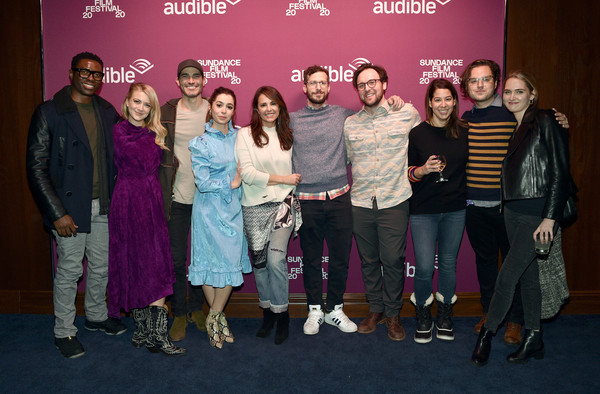 """""""Palm Springs"""" Premiere Party At The Audible Speakeasy - 2020 Sundance Film Festival [event,social group,fashion,youth,performance,fun,fashion design,talent show,magenta,premiere,cristin milioti,andy samberg,jacqueline orbadors,tongayi chirisa,audible speakeasy,l-r,palm springs,premiere party,sundance film festival,premiere party,andy samberg,cristin milioti,andy siara,tyler hoechlin,max barbakow,camila mendes,palm springs,2020 sundance film festival,becky sloviter,actor]"""