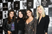 "(L-R) Maia Cotton, Lisa Chavy, Sara Sampaio, and Devon Windsor attend as Angel Sara Sampaio & designer Lisa Chavy introduce ""LIVY"" at Landmarc, West Broadway on February 12, 2019 in New York City."