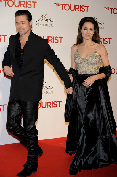 "Brad Pitt and Angelina Jolie attend ""The Tourist premiere at Palacio de los Deportes on December 16, 2010 in Madrid, Spain."