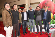 """(L-R) Director Fergal Reilly, actor Bill Hader, actor Josh Gad, producer John Cohen, actor Jason Sudeikis, actor Danny McBride and director Clay Kaytis attend a photo call and Q&A session for a """"Sneak Beak"""" of Columbia Pictures and Rovio Animations' ANGRY BIRDS at Sony Pictures Studios on February 23, 2016 in Culver City, California."""