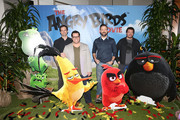 """(L-R) Actors Bill Hader, Josh Gad, Jason Sudeikis and Danny McBride attend a photo call and Q&A session for a """"Sneak Beak"""" of Columbia Pictures and Rovio Animations' ANGRY BIRDS at Sony Pictures Studios on February 23, 2016 in Culver City, California."""