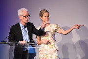 John Slattery and Carolyn Murphy speak onstage during the Animal Haven Gala 2019 at Tribeca 360 on May 22, 2019 in New York City.