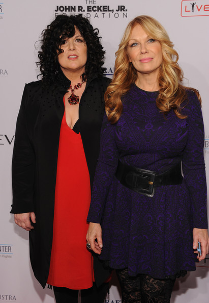 Arrivals at Elton John AIDS Foundation Benefit [heart,clothing,fashion,outerwear,overcoat,suit,coat,event,formal wear,dress,fashion design,arrivals,ann wilson,nancy wilson,12th annual an enduring vision benefit,cipriani wall street,new york city,elton john aids foundation]