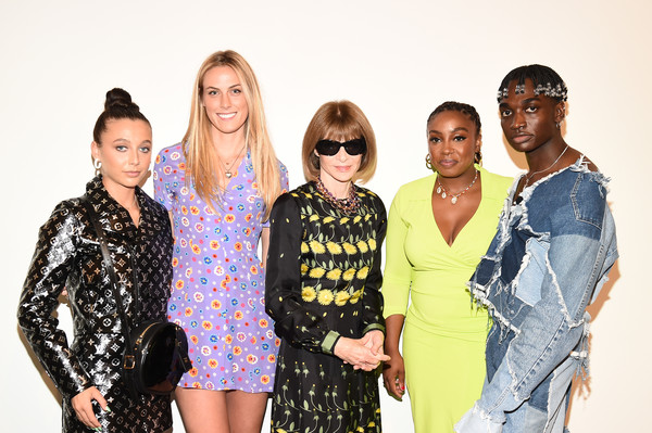 Teen Vogue Celebrates Generation Next, Presented By Snapchat [people,fashion,event,yellow,fashion design,fun,photography,eyewear,smile,style,lindsey peoples wagner,emma chamberlain,selby drummond,anna wintour,rickey thompson,snapchat,teen vogue celebrates generation next,studio 525,new york city]