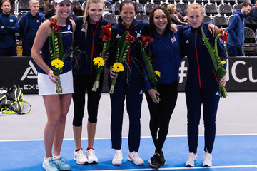 Anne Keothavong Heather Watson Great Britain v Hungary - Fed Cup by BNP Paribas
