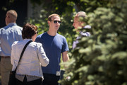 Mark Zuckerberg, chief executive officer of Facebook, talks with Senate Minority Leader Chuck Schumer (D-NY) during the annual Allen & Company Sun Valley Conference, July 12, 2018 in Sun Valley, Idaho. Every July, some of the world's most wealthy and powerful businesspeople from the media, finance, technology and political spheres converge at the Sun Valley Resort for the exclusive week-long conference.