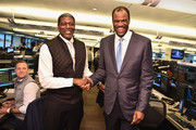 Larry Johnson (L) and David Robinson attend the Annual Charity Day hosted by Cantor Fitzgerald, BGC and GFI at Cantor Fitzgerald on September 11, 2018 in New York City.