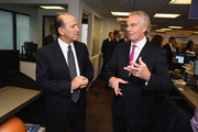 Howard Lutnick (L) and Tony Blair attends the Annual Charity Day hosted by Cantor Fitzgerald, BGC and GFI at Cantor Fitzgerald on September 11, 2018 in New York City.