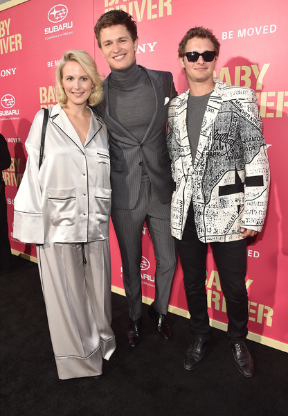Premiere of Sony Pictures' 'Baby Driver' - Red Carpet [baby driver,premiere,eyewear,fashion,event,carpet,suit,outerwear,red carpet,fashion design,pantsuit,red carpet,ansel elgort,warren elgort,grethe barrett holby,california,los angeles,sony pictures,premiere,premiere]