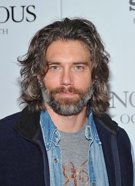 """""""Anonymous"""" Screening - Arrivals [facial hair,hair,beard,moustache,hairstyle,chin,long hair,surfer hair,premiere,screening - arrivals,anson mount,anonymous,screening,the museum of modern art,new york city]"""