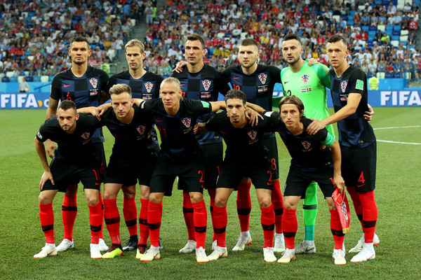 Croatia vs. Denmark: Round Of 16 - 2018 FIFA World Cup Russia [team photo,sports,team,team sport,ball game,sport venue,player,football player,soccer,soccer player,stadium,players,russia,croatia,denmark,nizhny novgorod stadium,group c,round,2018 fifa world cup,match]
