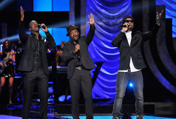 BET's Black Girls Rock 2012 - Show [entertainment,performance,performing arts,event,stage,music artist,talent show,heater,musical theatre,formal wear,eric benet,anthony hamilton,luke james,l-r,new york city,paradise theater,bet,black girls rock 2012 - show]