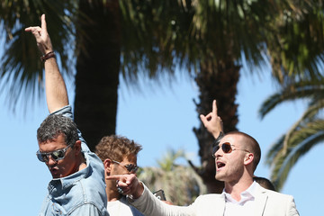 """Antonio Banderas Glen Powell """"The Expendables 3"""" Photocall - The 67th Annual Cannes Film Festival"""