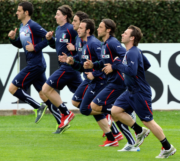 Italy Training Session [player,sports,sports equipment,team sport,ball game,tournament,soccer,football player,team,sport venue,riccardo montolivo,leonardo bonucci,giampaolo pazzini,stefano mauri,alberto aquilani,antonio cassano,l-r,italy,italy training session,training session]