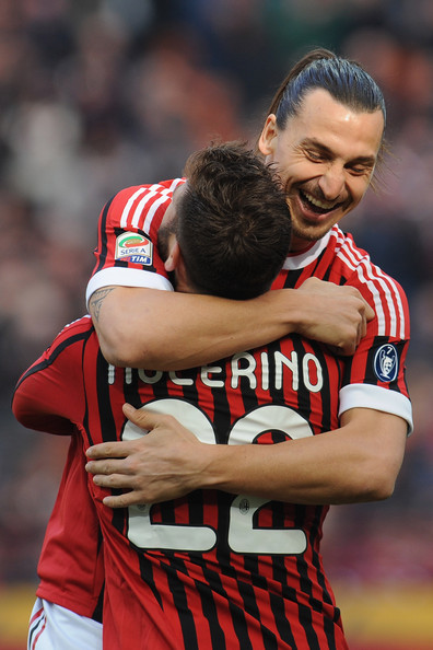 Antonio Nocerino Antonio Nocerino of AC Milan celebrates with team-mate Zlatan Ibrahimovic after scoring the opening goal with Zlatan Ibrahimovic during the Serie A match between AC Milan and US Lecce at Stadio Giuseppe Meazza on March 11, 2012 in Milan, Italy.