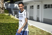 Angel Di Maria on arrival for training session at Cidade do Galo on June 18, 2019 in Vespasiano, Brazil.