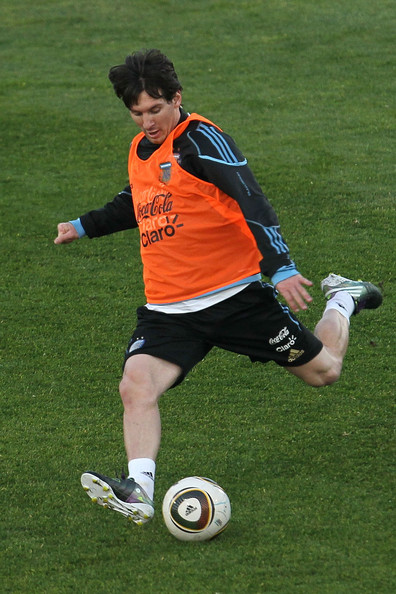 Lionel Messi of Argentina's National Team watches on during a team training session on June 6, 2010 in Pretoria, South Africa.