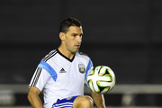 Maxi Rodriguez conttrols the ball during the Argentina training session, ahead of the 2014 FIFA World Cup Final, at Estadio Sao Januario on July 12, 2014 in Rio de Janeiro, Brazil.