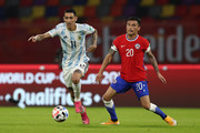 Angel Di Maria of Argentina controls the ball during a match between Argentina and Chile as part of South American Qualifiers for Qatar 2022 at Estadio Unico Madre de Ciudades on June 03, 2021 in Santiago del Estero, Argentina.