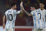 Lionel Messi of Argentina celebrates after scoring the opening goal of his team with Rodrigo De Paul  during a match between Argentina and Chile as part of South American Qualifiers for Qatar 2022 at Estadio Unico Madre de Ciudades on June 03, 2021 in Santiago del Estero, Argentina.