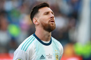 Lionel Messi of Argentina sings the national anthem prior to the Copa America Brazil 2019 Third Place match between Argentina and Chile at Arena Corinthians on July 06, 2019 in Sao Paulo, Brazil.