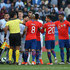 Leandro Paredes Photos - Arturo Vidal of Chile argues with players of Argentina during the Copa America Brazil 2019 Third Place match between Argentina and Chile at Arena Corinthians on July 06, 2019 in Sao Paulo, Brazil. - Argentina v Chile: Third Place Match - Copa America Brazil 2019