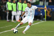 Angel Di Maria of Argentina kicks the ball during the Copa America Brazil 2019 Third Place match between Argentina and Chile at Arena Corinthians on July 06, 2019 in Sao Paulo, Brazil.