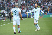 Sergio Aguero of Argentina celebrates after scoring the opening goal with teammate Lionel Messi during the Copa America Brazil 2019 Third Place match between Argentina and Chile at Arena Corinthians on July 06, 2019 in Sao Paulo, Brazil.