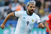 Sergio Aguero of Argentina runs with the ball to score the opening goal during the Copa America Brazil 2019 Third Place match between Argentina and Chile at Arena Corinthians on July 06, 2019 in Sao Paulo, Brazil.