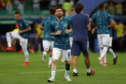 Lionel Messi of Argentina warms up prior to the Copa America Brazil 2019 group B match between Argentina and Colombia at Arena Fonte Nova on June 15, 2019 in Salvador, Brazil.