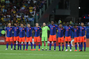 Players of Colombia line up prior to the Copa America Brazil 2019 group B match between Argentina and Colombia at Arena Fonte Nova on June 15, 2019 in Salvador, Brazil.