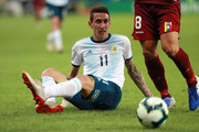 Angel Di Maria of Argentina reacts after falling during the Copa America Brazil 2019 quarterfinal match between Argentina and Venezuela at Maracana Stadium on June 28, 2019 in Rio de Janeiro, Brazil.