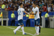 Lautaro Martinez of Argentina is substituted by teammate Angel Di Maria during the Copa America Brazil 2019 quarterfinal match between Argentina and Venezuela at Maracana Stadium on June 28, 2019 in Rio de Janeiro, Brazil.