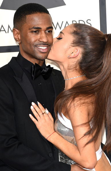 57th GRAMMY Awards - Arrivals [hair,hairstyle,interaction,forehead,black hair,event,long hair,muscle,gesture,smile,arrivals,big sean,ariana grande,grammy awards,los angeles,california,staples center,l,the 57th annual grammy awards]