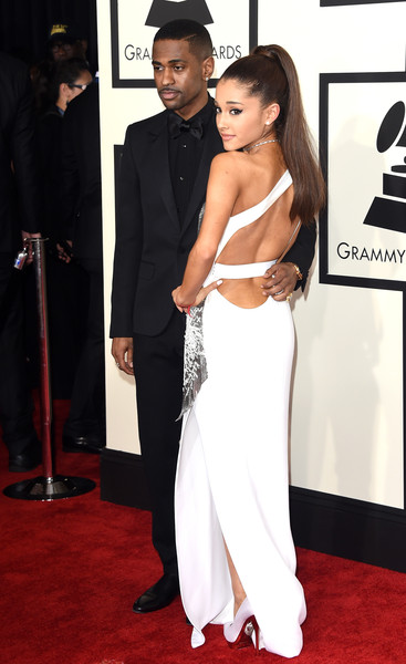 57th GRAMMY Awards - Arrivals [red carpet,carpet,clothing,dress,shoulder,flooring,hairstyle,premiere,formal wear,gown,arrivals,big sean,ariana grande,grammy awards,los angeles,california,staples center,l,the 57th annual grammy awards]
