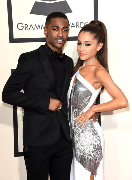 57th GRAMMY Awards - Arrivals [clothing,suit,fashion,hairstyle,beauty,dress,formal wear,tuxedo,black-and-white,little black dress,arrivals,big sean,ariana grande,grammy awards,los angeles,california,staples center,l,the 57th annual grammy awards]