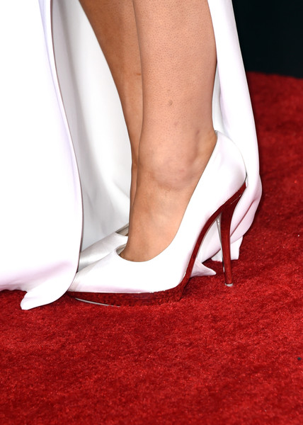57th GRAMMY Awards - Arrivals [footwear,high heels,white,leg,carpet,shoe,slingback,court shoe,flooring,red carpet,arrivals,ariana grande,grammy awards,fashion detail,los angeles,california,staples center,the 57th annual grammy awards]