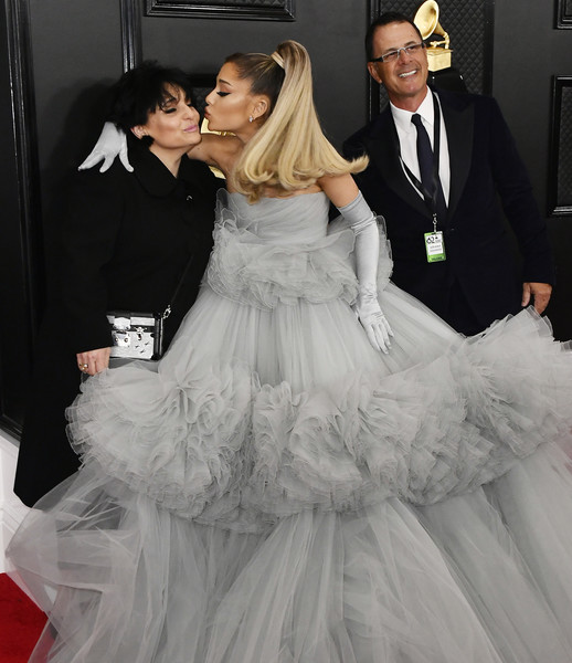 62nd Annual GRAMMY Awards – Arrivals [gown,wedding dress,dress,white,bridal clothing,clothing,lady,formal wear,bride,fashion,joan grande,ariana grande,edward butera,l-r,california,los angeles,staples center,annual grammy awards,ariana grande,marilyn monroe,staples center,grammy awards,red carpet,fashion,grammy award for album of the year,dress]