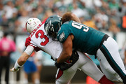 Elijah Qualls #98 of the Philadelphia Eagles tackles quarterback  Carson Palmer #3 of the Arizona Cardinals during the second half at Lincoln Financial Field on October 8, 2017 in Philadelphia, Pennsylvania.