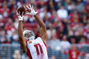Larry Fitzgerald #11 of the Arizona Cardinals makes a catch against the San Francisco 49ers during their NFL game at Levi's Stadium on November 5, 2017 in Santa Clara, California.