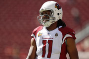Larry Fitzgerald #11 of the Arizona Cardinals warms up prior to their game against the San Francisco 49ers at Levi's Stadium on October 7, 2018 in Santa Clara, California.