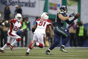 Tight end Jimmy Graham #88 of the Seattle Seahawks brings in a catch against the Arizona Cardinals at CenturyLink Field on December 24, 2016 in Seattle, Washington.