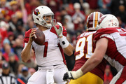 Quarterback Blaine Gabbert #7 of the Arizona Cardinals throws the ball in the third quarter against the Washington Redskins at FedEx Field on December 17, 2017 in Landover, Maryland.