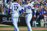 Kris Bryant #17 of the Chicago Cubs and Anthony Rizzo #44  celebrate their win against the Arizona Diamondbacks on September 5, 2015 at Wrigley Field in Chicago, Illinois. The Cubs won 2-0.
