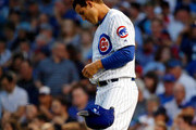 Anthony Rizzo #44 of the Chicago Cubs reacts after striking out to end the third inning against the Arizona Diamondbacks at Wrigley Field on July 24, 2018 in Chicago, Illinois. The Arizona Diamondbacks won 5-1.