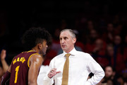 Head coach Bobby Hurley of the Arizona State Sun Devils talks with Remy Martin #1 during the first half of the college basketball game against the Arizona Wildcats at McKale Center on December 30, 2017 in Tucson, Arizona.